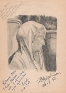Figura matki Boskiej z katedry w Reims. Imieninowa laurka dla babci Leokadii Karoliny z Przybytkowskich Adamskiej 4 listopada 1954 w dn. św. Karola Boromeusza.